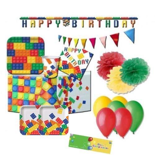 Kit per 8 persone Lego con festone