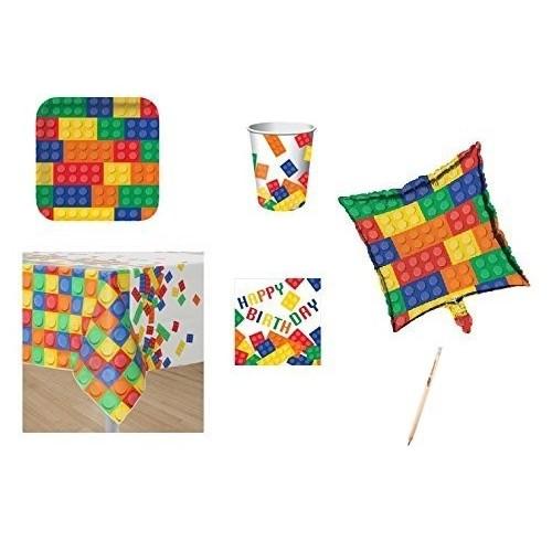 Kit compleanno 16 persone Lego con palloncini