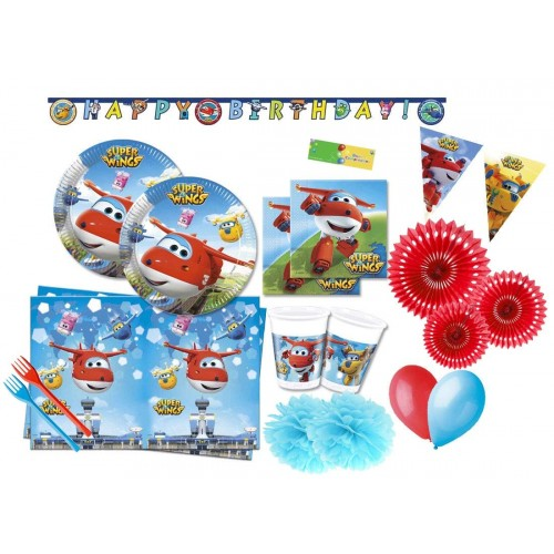 Kit 40 persone con rosone Super Wings per feste a tema