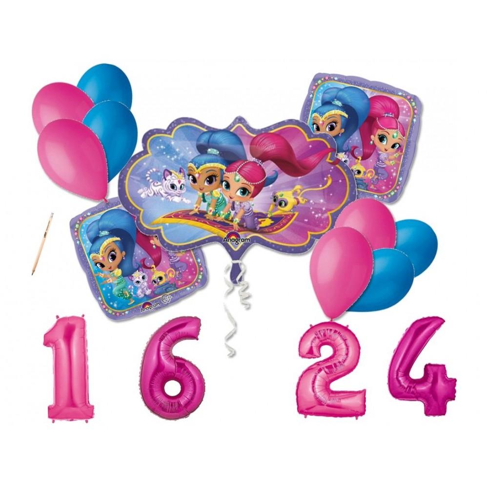 Bouquet palloncini di Shimmer e Shine con numero