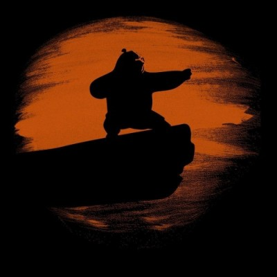 Kung Fu Panda Silhouette Sunset Mens T-Shirt