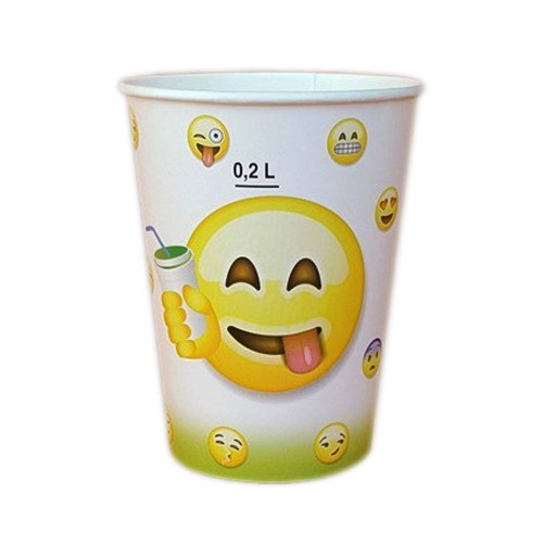 Bicchiere Carta Bibita Emoticon  250 cc  B/25 X 200 Pz adatto al consumo di qualsiasi tipologia di bevanda