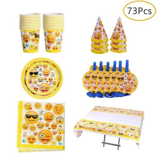 Ritte Kit Emoji, 73 Pezzi Decorazioni per Feste Compleanno, Emoji Party Inclusi Grande Tovaglia, Blow Dragon, Cappelli, Tovag