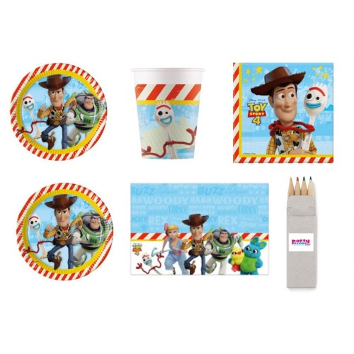 Party Store web by casa dolce casa Toy Story 4 Coordinato ADDOBBI TAVOLA Festa Woody E Buzz Lightyear - Kit n°21 CDC- 8 Piatt