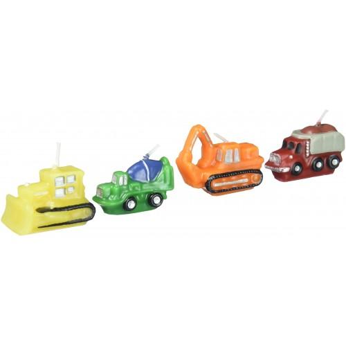 Candele mezzi da costruzione - 4 Pezzi, per torte di compleanno