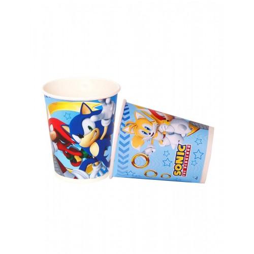 8 Bicchieri Sonic da 220 ml in cartoncino per feste