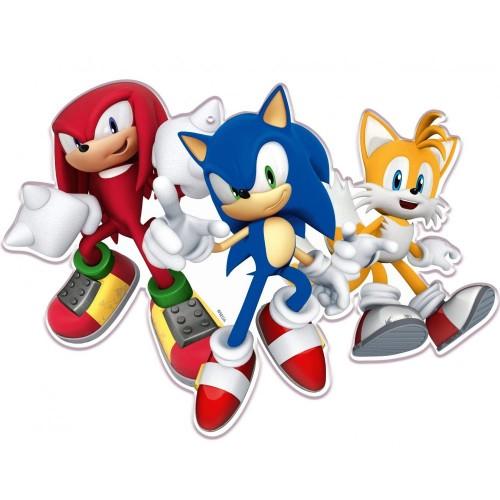 16 Sagome  di Sonic in cartoncino