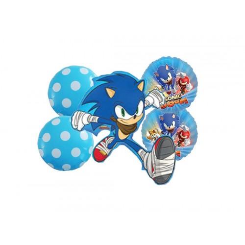 Composizione di palloncini Sonic the Hedgehog