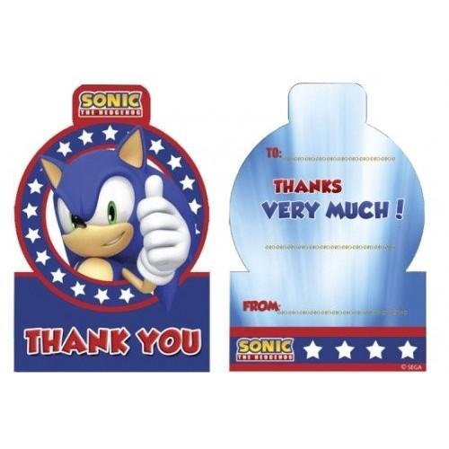 6 bigliettini di ringraziamento tema Sonic