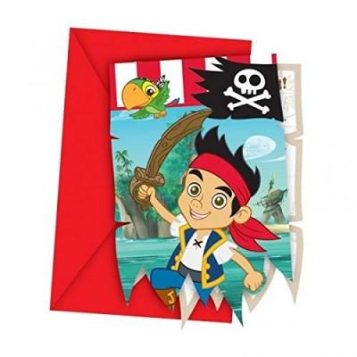 Inviti Jake e i pirati, confezione da 6 pezzi con bustine