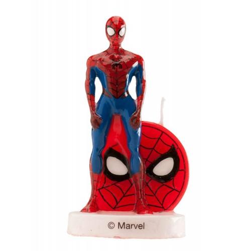 Candelina Spiderman 3d in cera per decorare torte