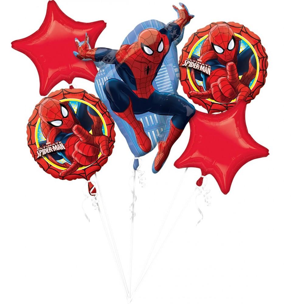 Bouquet Spiderman con 5 palloncini