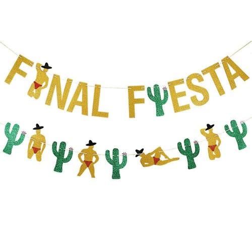 TVOQ Decorazioni in Oro con Brillantini Finale Fiesta Banner E Brillantini Cactus Man Garland- Messicano Fiestatheme Decorazi