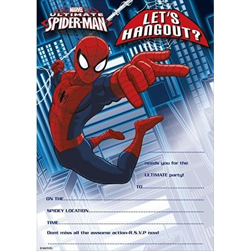 Inviti compleanno Spiderman, 20 pz con bustine omaggio