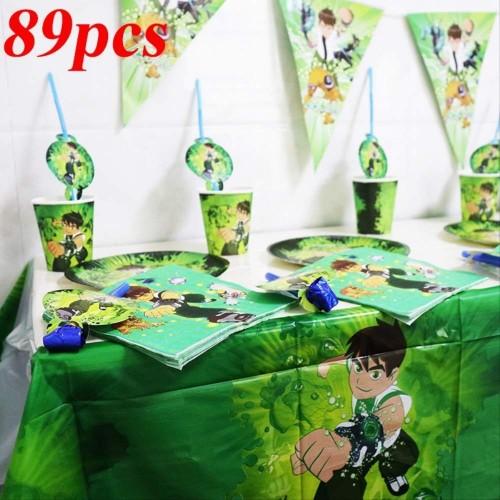 Set di tazze usa e getta 89 pezzi/lotto Set di feste di compleanno a tema Ben 10 Ben 10 piatti tazze Tovaglioli Decorazioni p