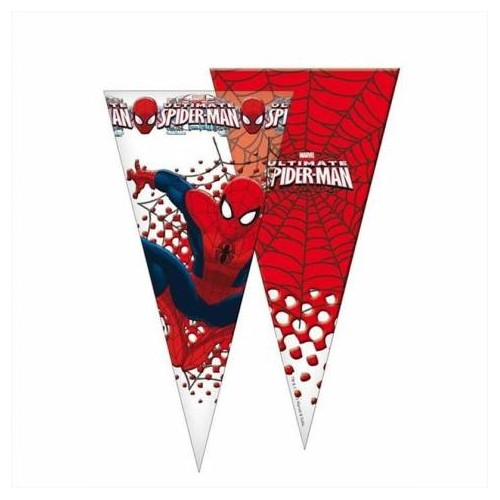 Bustine cono Spiderman - 20 pz trasparenti, idea regalo