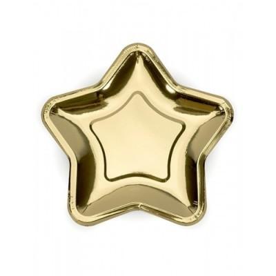 6 Piatti a Forma di Stella oro
