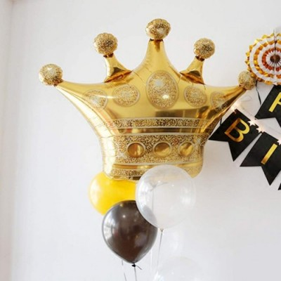 Toyvian Corona Balloons Foil Helium Mylar Balloons 5pcs Palloncini Dorati Creativo Party Decor Balloon per Wedding Birthday F
