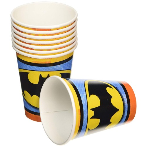 Bicchieri Batman in cartoncino, 266 ml, per feste