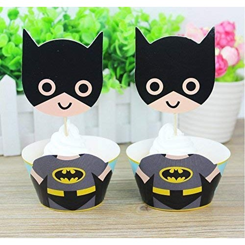 Topper dolci Batman, 12 accessori dell'uomo Pipistrello