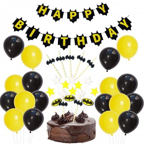 Set torta Batman, cake topper, palloncini e festone