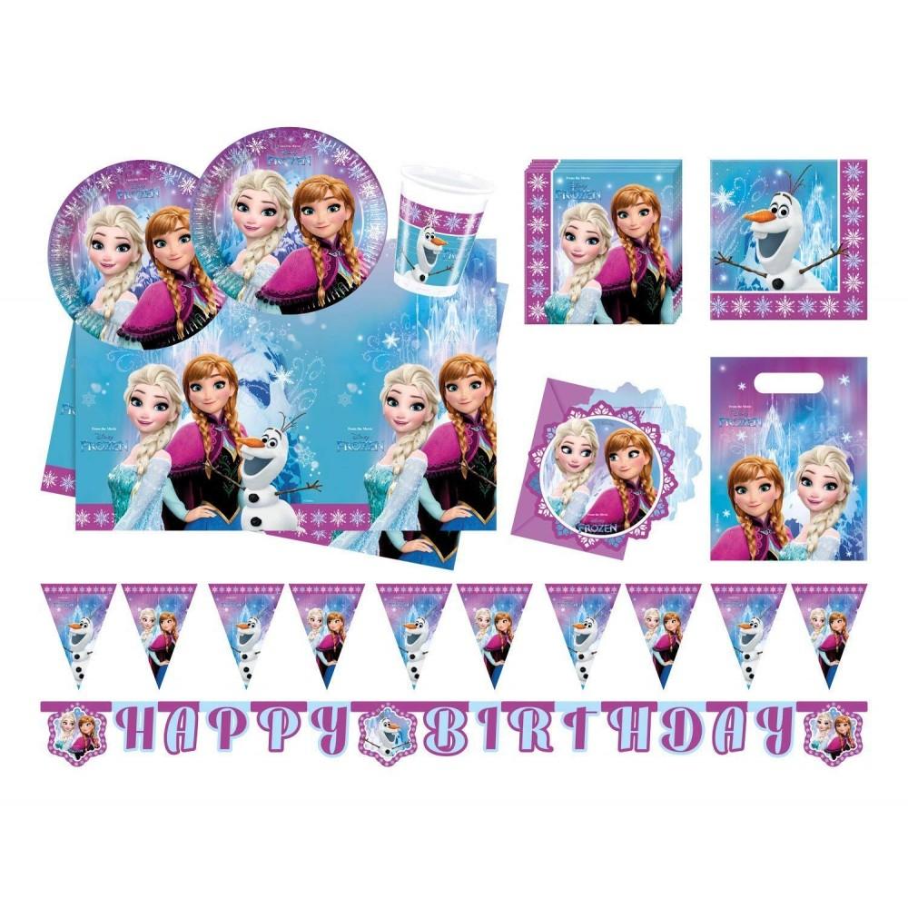 Kit compleanno Frozen 8 pesone con ghirlanda e mini cialde