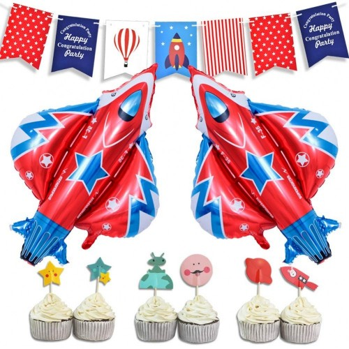 LUCK COLLECTION Space Party Decorations Space Rocket Theme Baby Shower Forniture per feste di compleanno