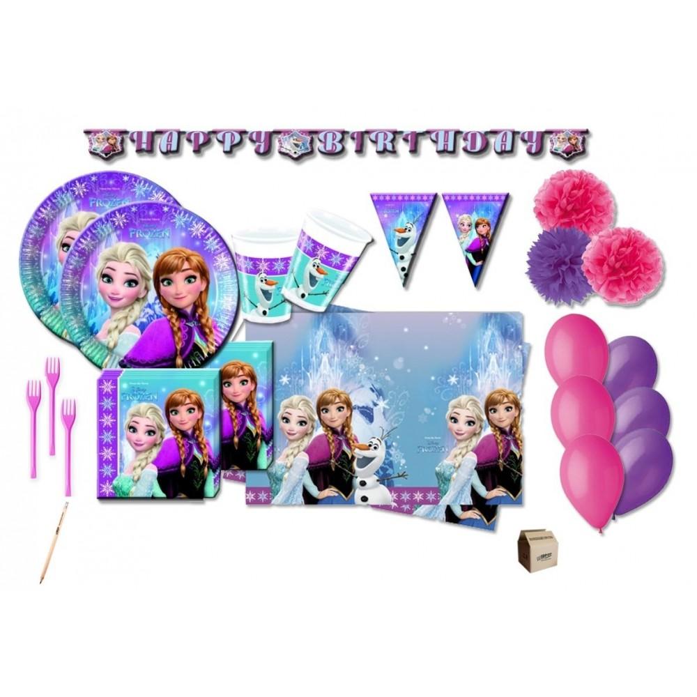 Kit Compleanno 16 persone Frozen con festoni e forchette