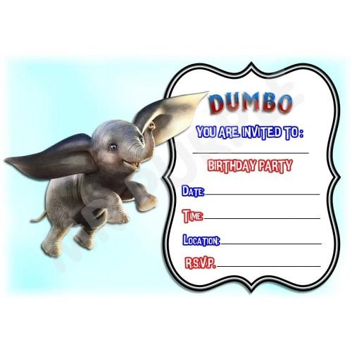 12 Inviti di compleanno tema Dumbo Disney