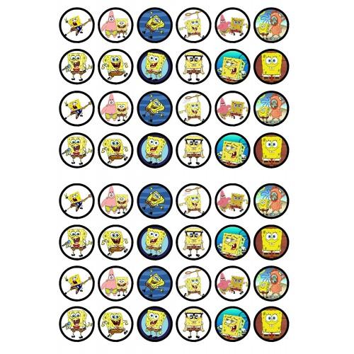 Mini cialde SpongeBob, set da 48, per mini dolci e muffin