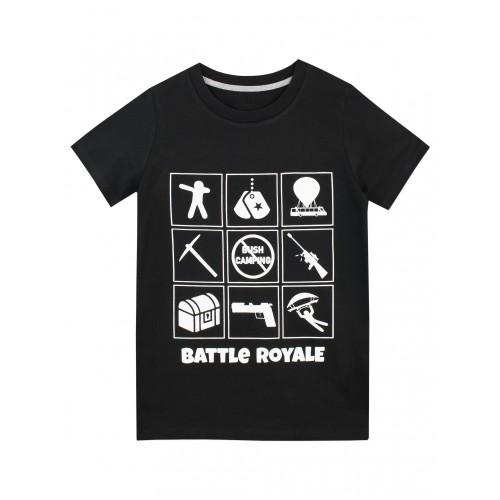 Battle Royale Maglietta a Maniche Corta per Ragazzi Battaglia Reale Nero 12-13 Anni