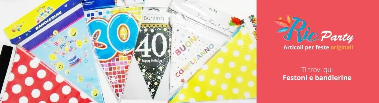 Festoni compleanno e bandierine, decorazioni per feste