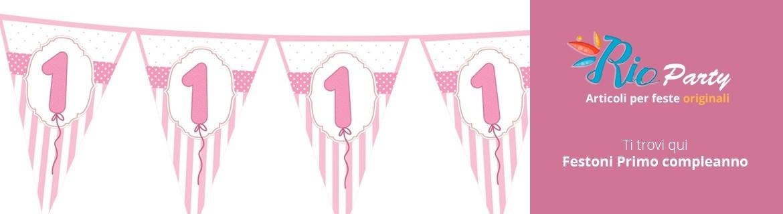 Festoni Primo compleanno, bandierine triangolari per feste