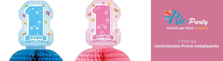 Centrotavola Primo compleanno, in cartoncino, con palloncini