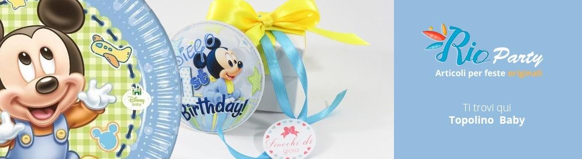 Topolino Baby Primo compleanno, coordinato e accessori originali