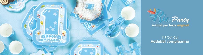 One light Blu Primo compleanno, addobbi e decorazioni originali
