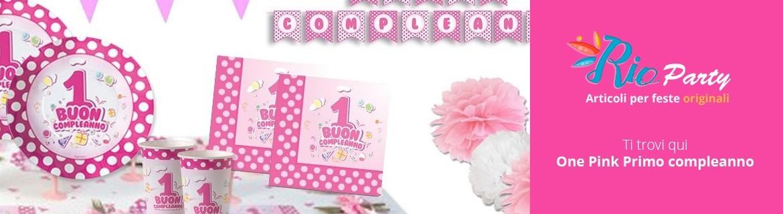 One Pink Primo compleanno, stoviglie, accessori e addobbi in vendita