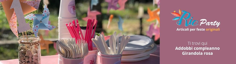 Girandola rosa 1° compleanno, addobbi originali per feste a tema