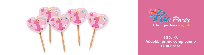 Cuore rosa Primo compleanno, addobbi e decorazioni in vendita