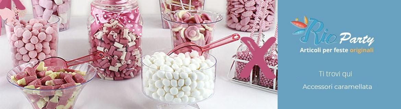 Accessori per caramellata, barattoli, addobbi e decorazioni, palette per caramelle