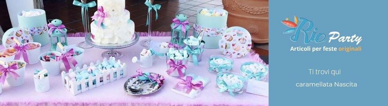 Caramellata nascita, decorazioni, accessori, contenitori per caramelle