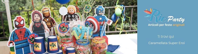 Caramellata Super Eroi, accessori, decorazioni e golose caramelle