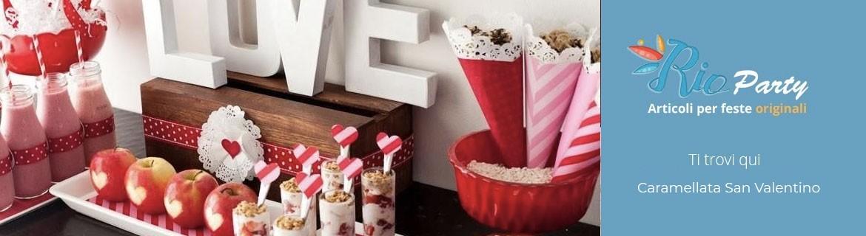 Caramellata San Valentino, caramelle forma cuore, accessori e addobbi
