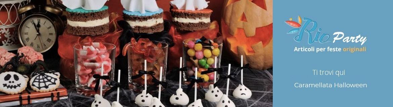Caramellata Halloween, zucche, decorazioni, caramelle spaventose
