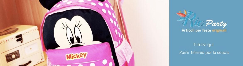 Zaini Minnie per la scuola, asilo, materna, con zip, estendibili