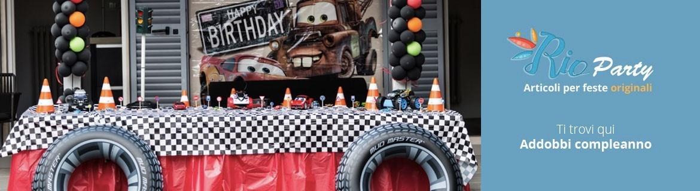 Festa Cars Disney, allestimenti, set tavola, accessori e addobbi Cars